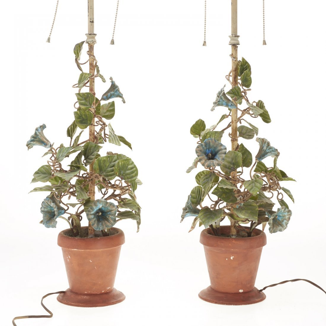 Pair Italian painted tole floral table lamps - 6