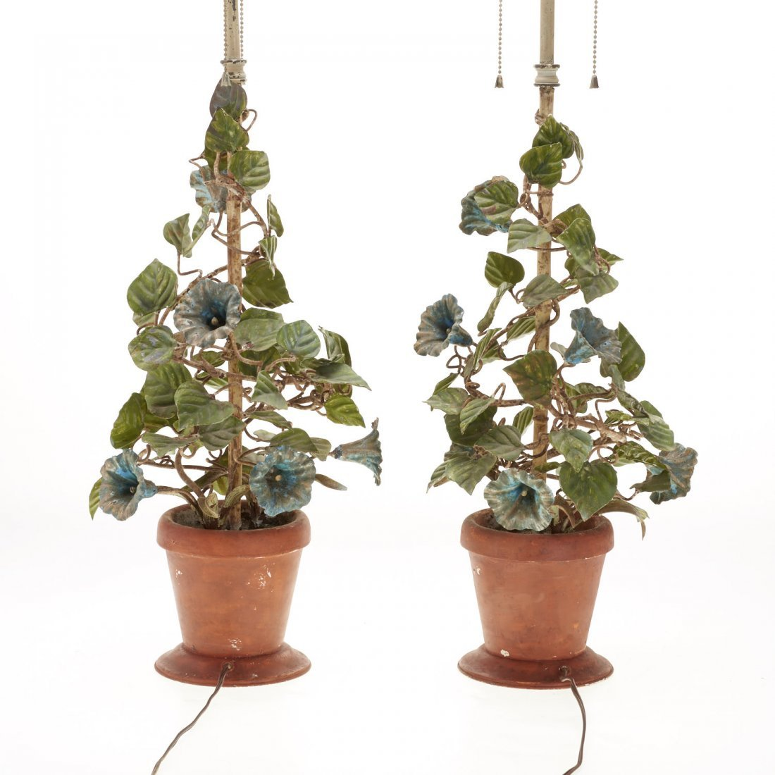 Pair Italian painted tole floral table lamps - 7