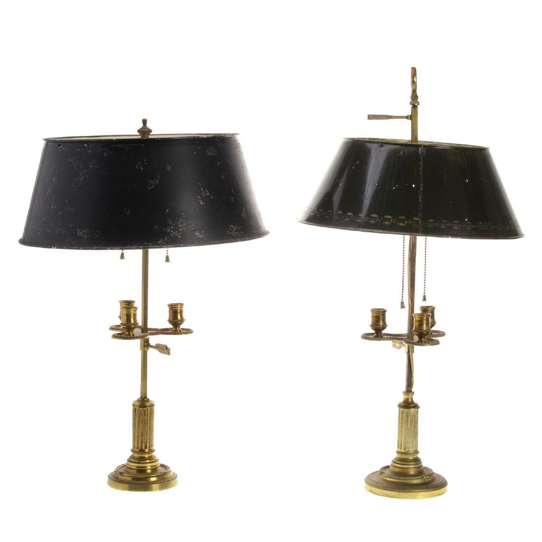 Near pair Louis XVI style brass bouillotte lamps