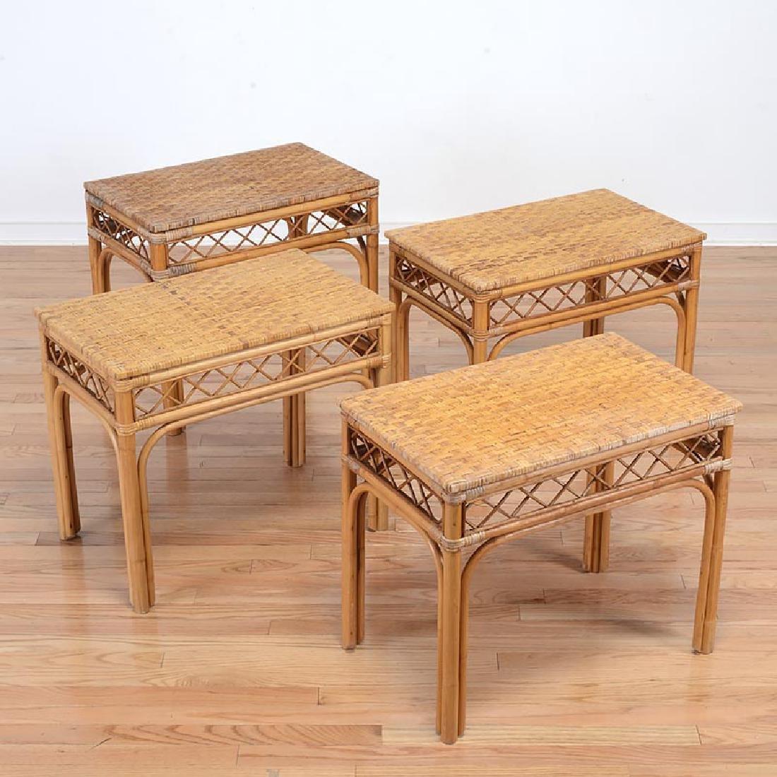 Set (4) Mid-Century rattan side tables