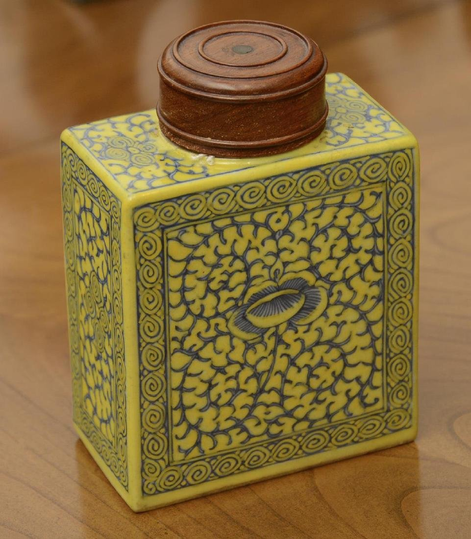 Chinese yellow ground porcelain tea caddy