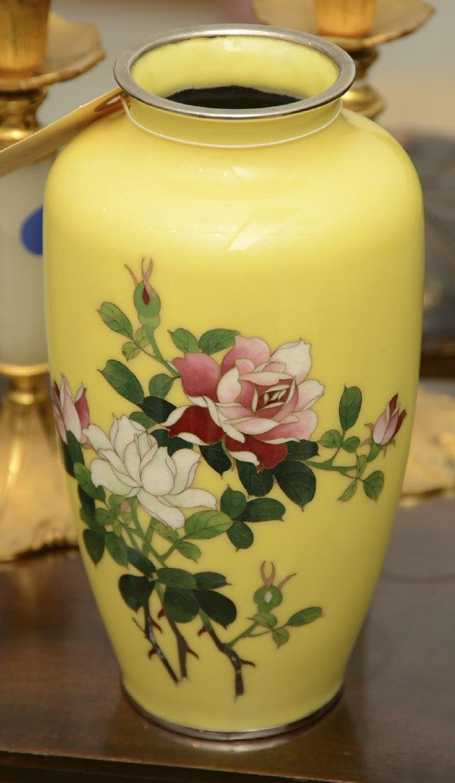 Ando style Japanese yellow cloisonne vase