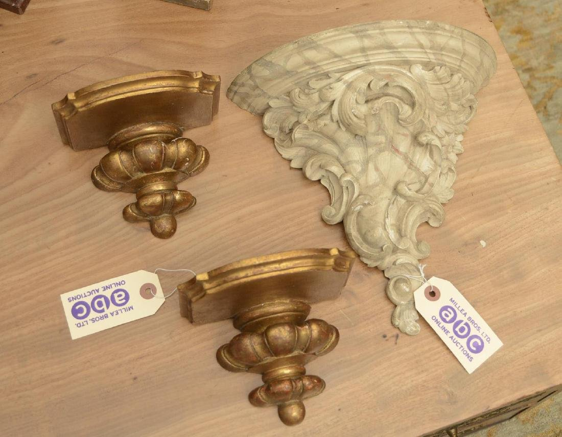 (3) Rococo style gilt and painted wall brackets