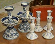 (3) pairs Chinese blue and white candleholders