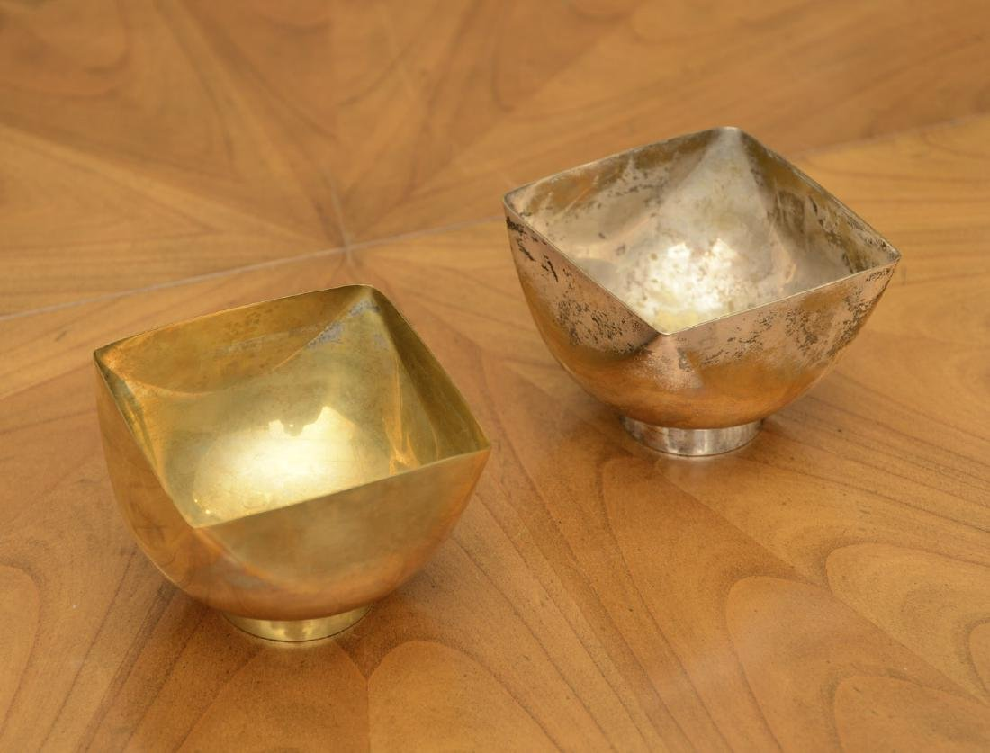 (2) Ward Bennett Design silver plated candy dishes