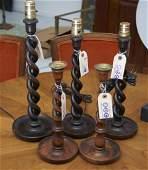 Group English barley twist candlesticks