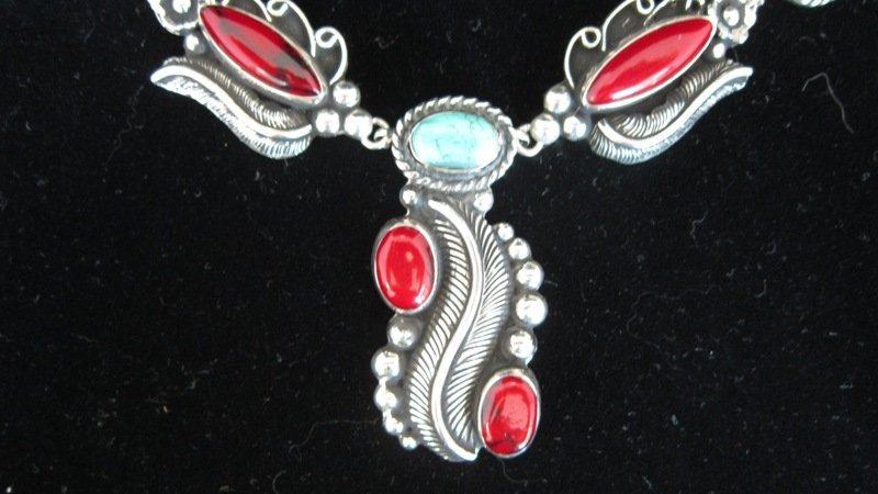 LARGE STERLING TURQUOISE & CORAL NAVAHO NECKLACE