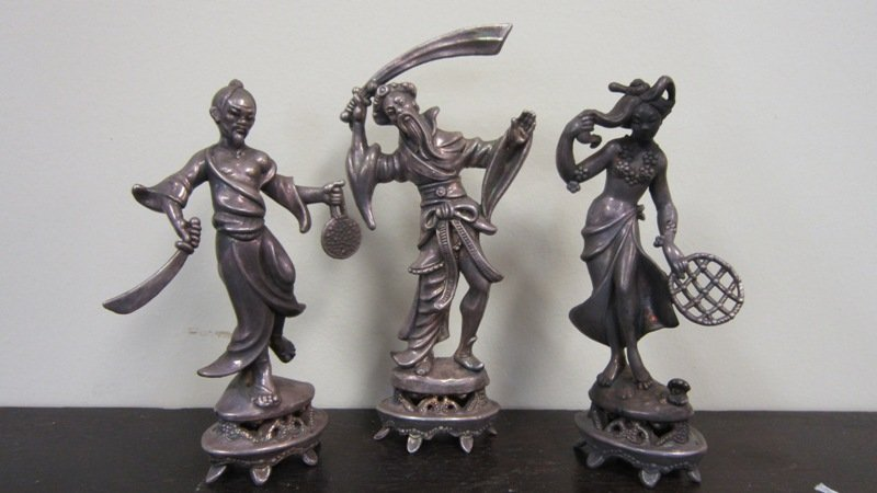 SET OF THREE ANTIQUE CHINESE SILVER FIGURINES