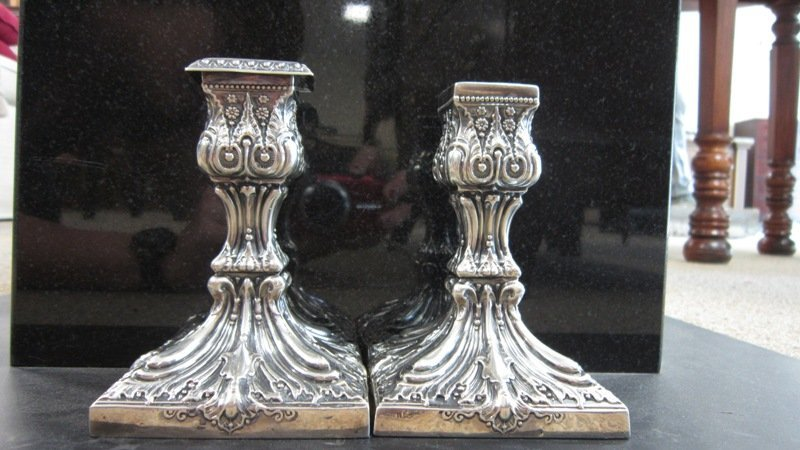 PAIR OF ANTIQUE ENGLISH STERLING ORNATE CANDLESTICKS