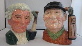 TWO LARGE ROYAL DOULTON TOBY MUGS