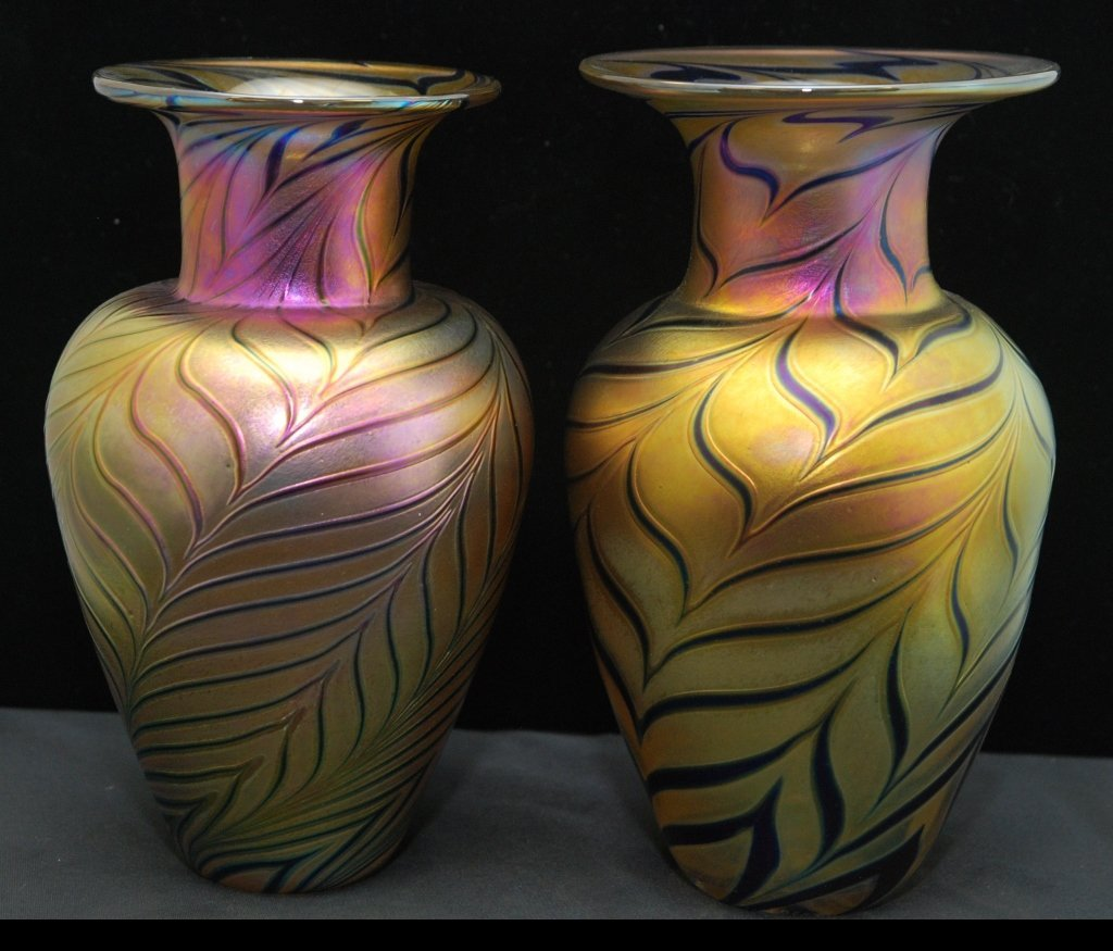 TWO ROBERT HELD LARGE ART GLASS