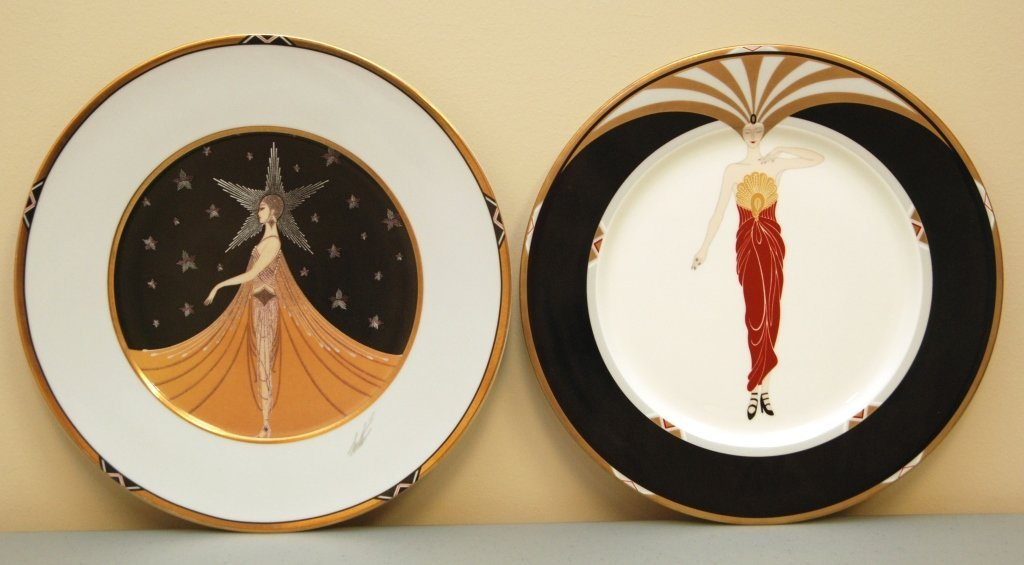 PAIR OF LARGE ERTE PORCELAIN CHARGERS