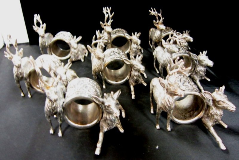 SILVER PLATED NAPKIN HOLDERS BEAUCOUP DESIGNS 8PC
