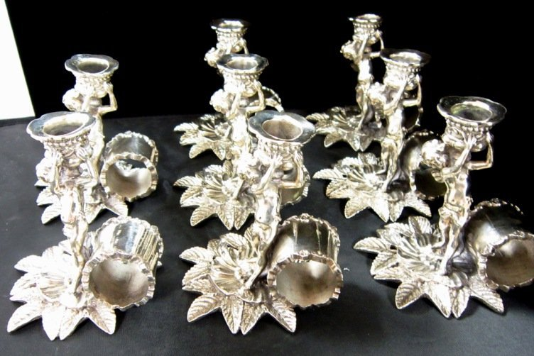 SILVER PLATED CANDLESTICK AND NAPKIN HOLDERS 8PC