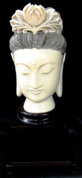 GUAN YIN IVORY HEAD 19TH C EARLY 20TH C