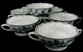 BLUE DANUBE SET OF 6 SOUP BOWLS WITH HANDLES