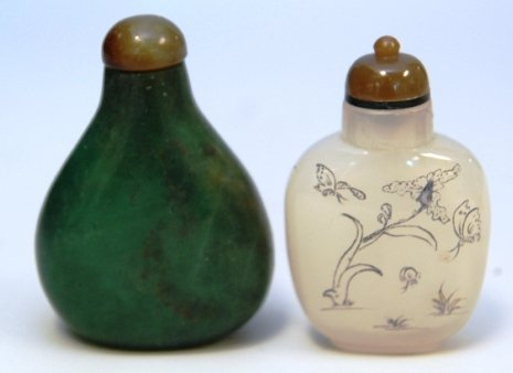 PAIR OF CHINESE GLASS AND NEPHRITE SNUFF BOTTLES