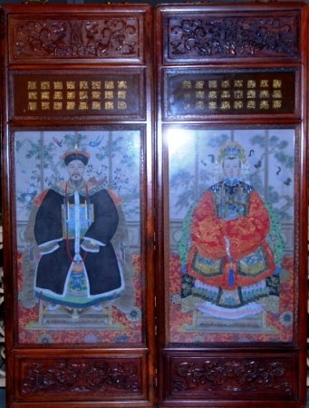 VERY LARGE ANCESTRIAL CHINESE WALL SCREENS