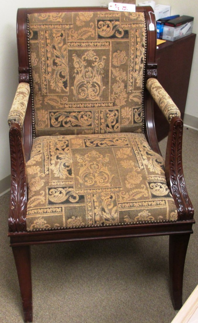 LARGE WOOD TAPESTRY DESK CHAIR
