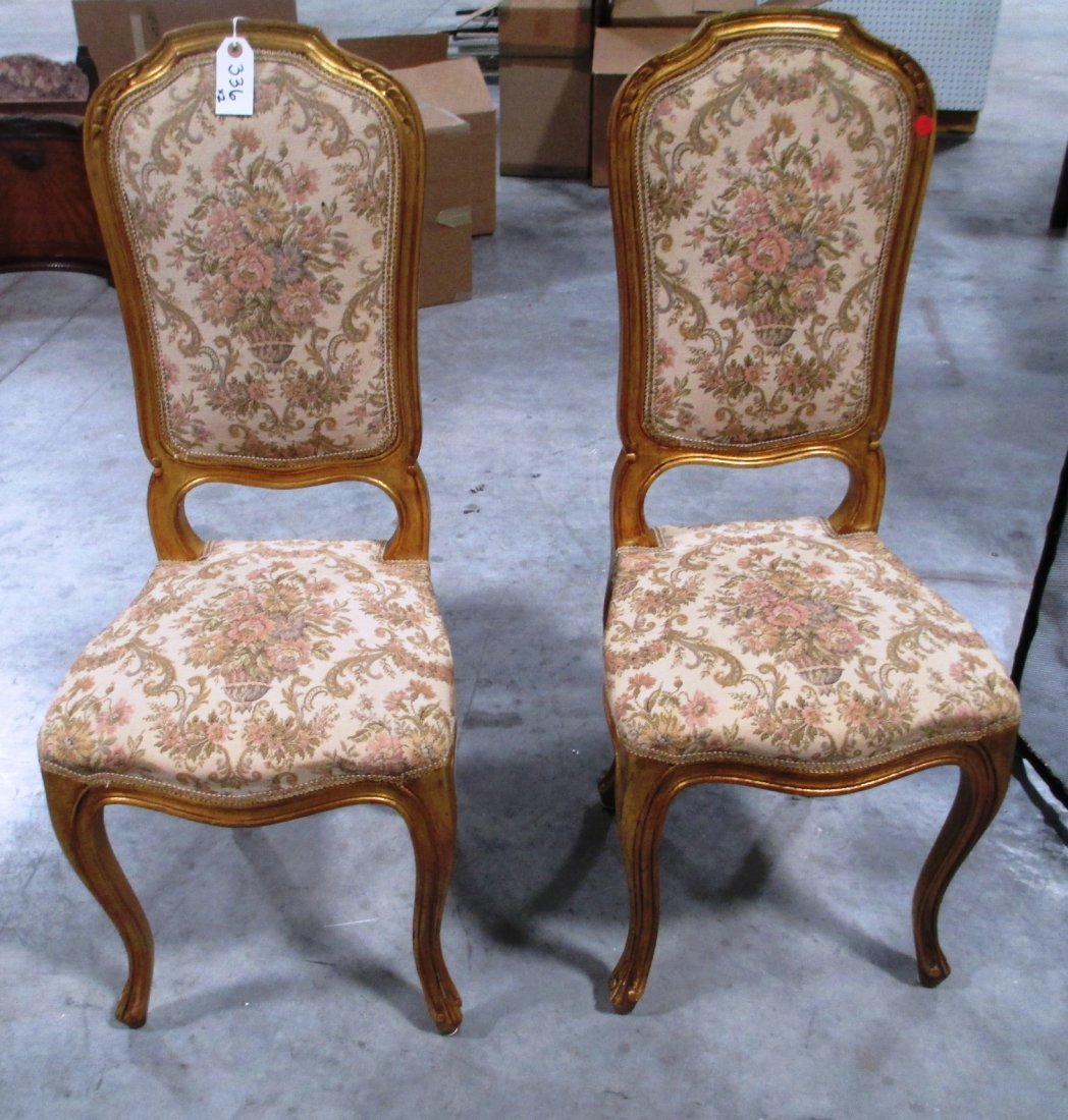 PAIR OF GOLD CARVED WOOD SIDE CHAIRS