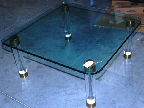 LUCITE COFFEE TABLE WITH GLASS TOP