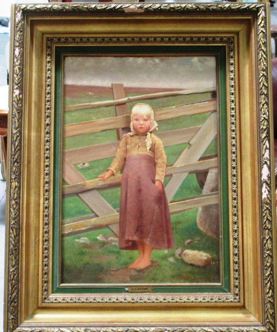 """OIL ON CANVAS J.G. BROWN FARM GIRL 14"""" X 21"""" OIL ON"""