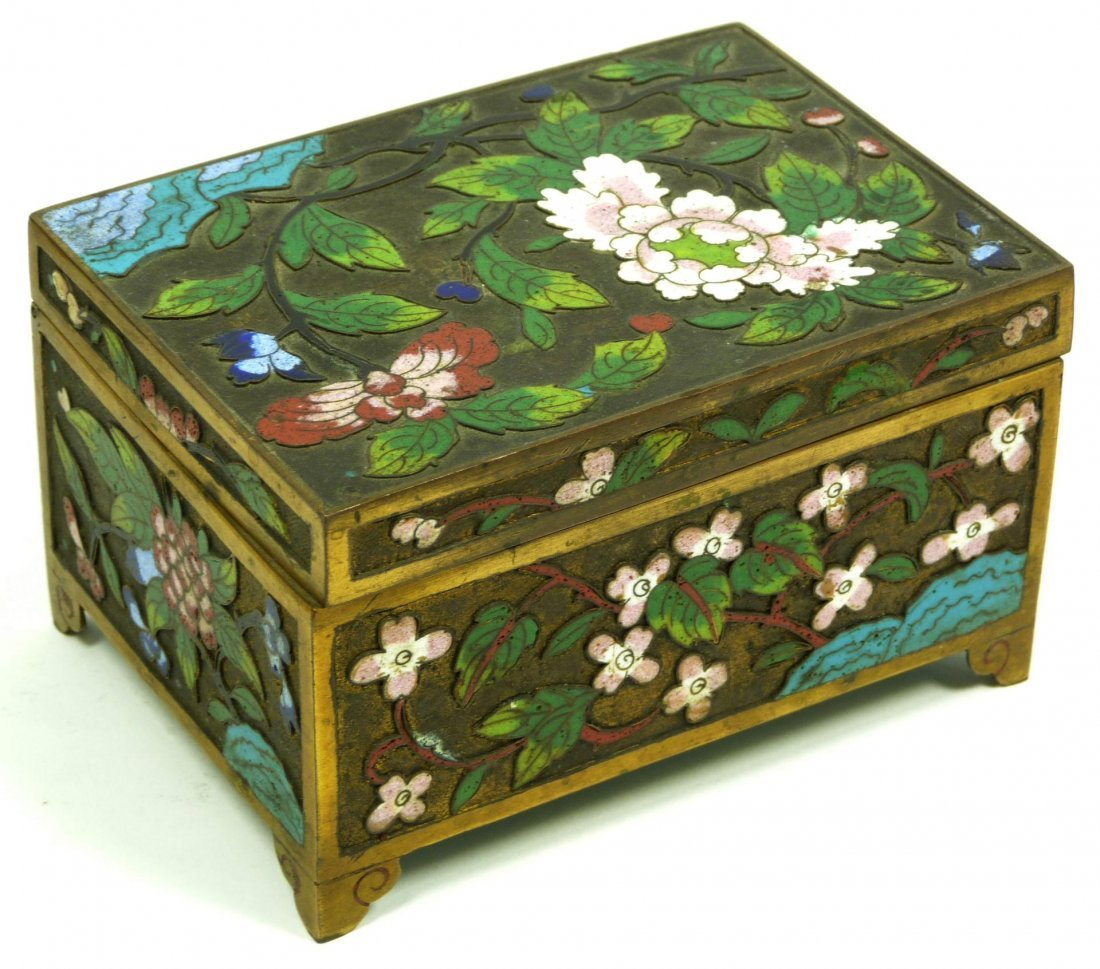 ANTIQUE CHINESE CLOISSONE ENAMELED BRASS BOX 19th