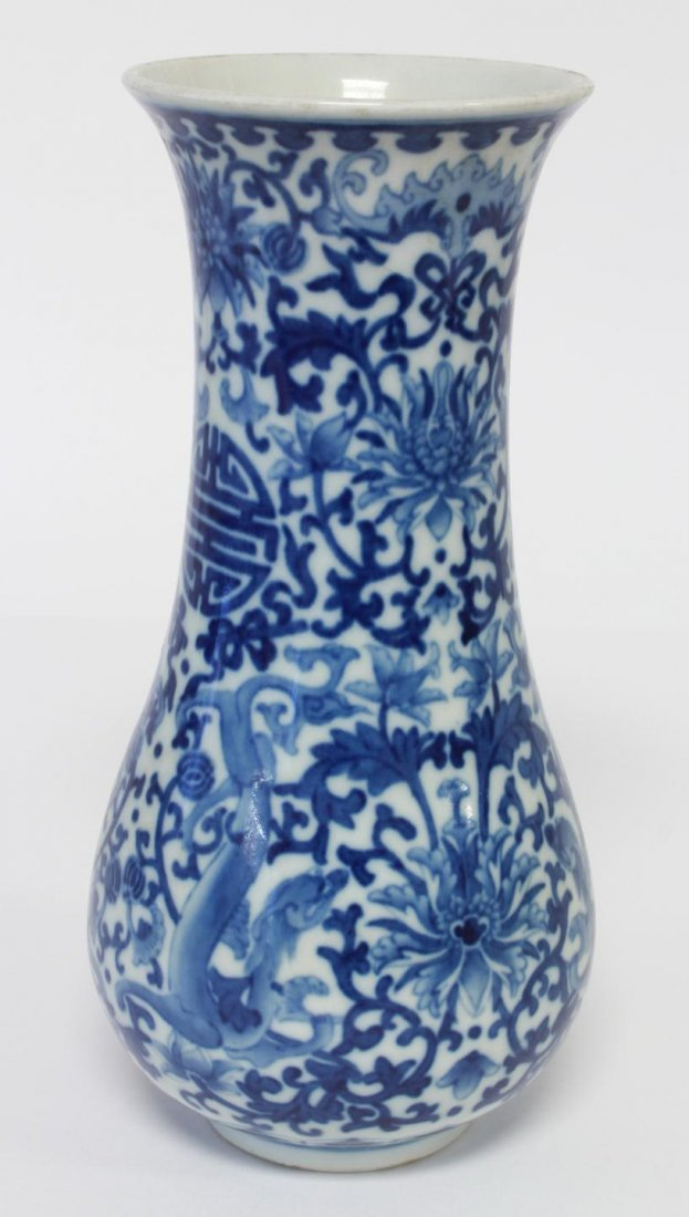 19TH C. CHINESE BLUE AND WHITE PORCELAIN VASE