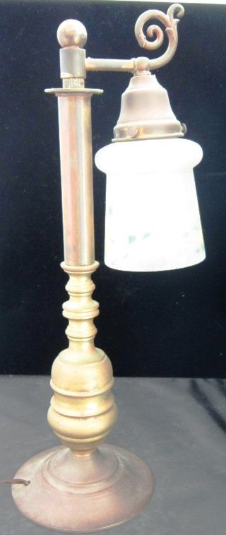 ARTS AND CRAFTS BRASS AND COPPER STUDENT LAMP