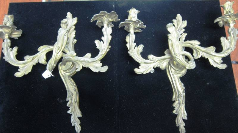 PAIR OF VINATGE BRONZE TWO ARMED STYLED SCONCES