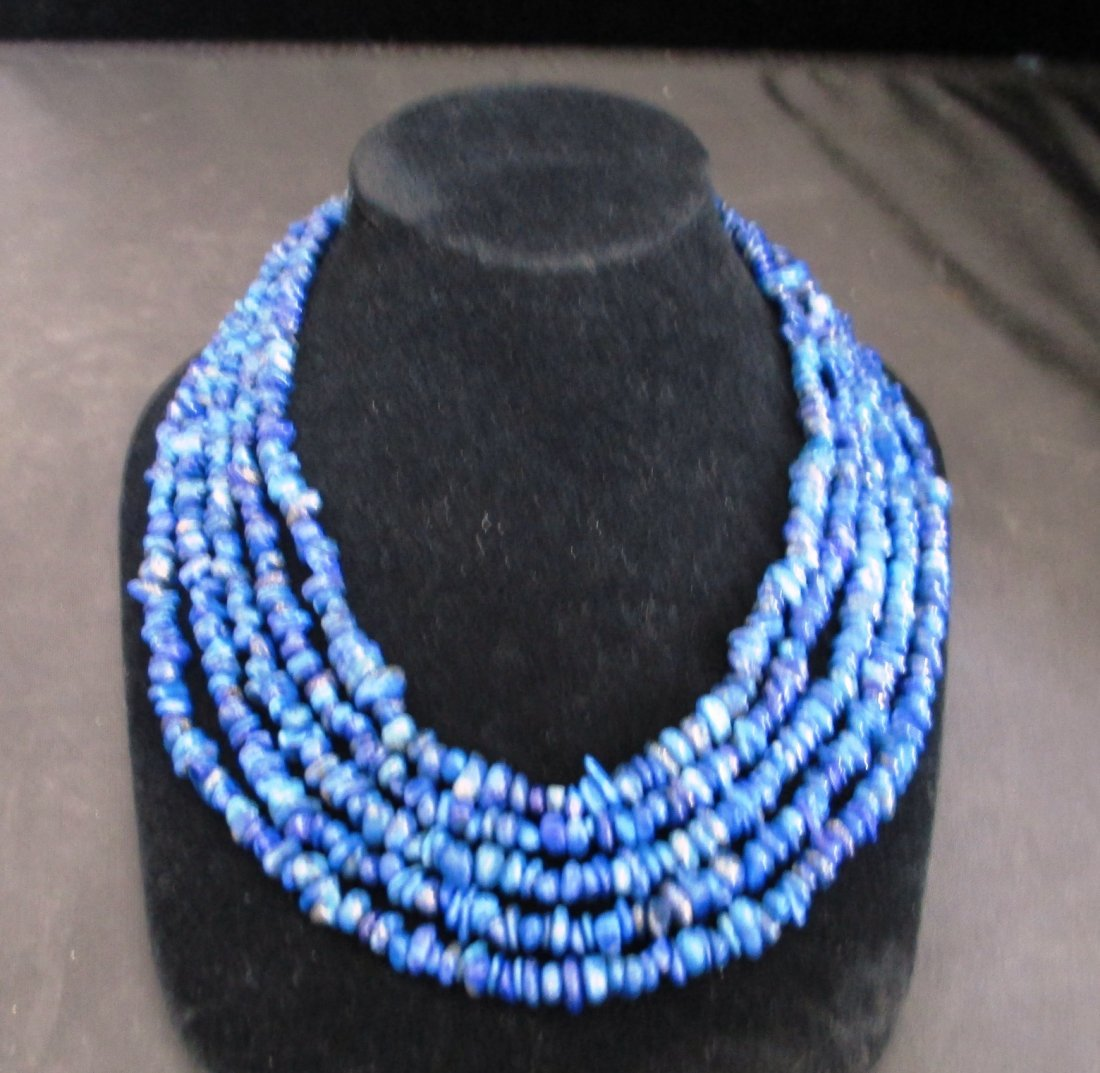 LADIES 5 STRAND LAPIS FREE FORM NECKLACE SET WITH 9.25