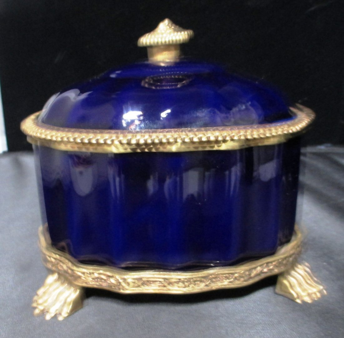 COBALT AND GOLD  LIDDED JEWELRY BOX CLAW FEET Lidded
