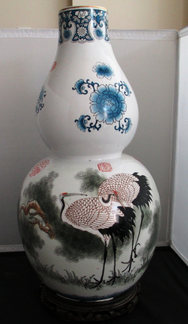 CHINESE DOUBLE GOURD QUAIL VASE WITH STAND Was