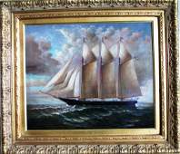 OIL ON CANVAS BY D TAYLOR THREE MASTED SCHOONER Oil