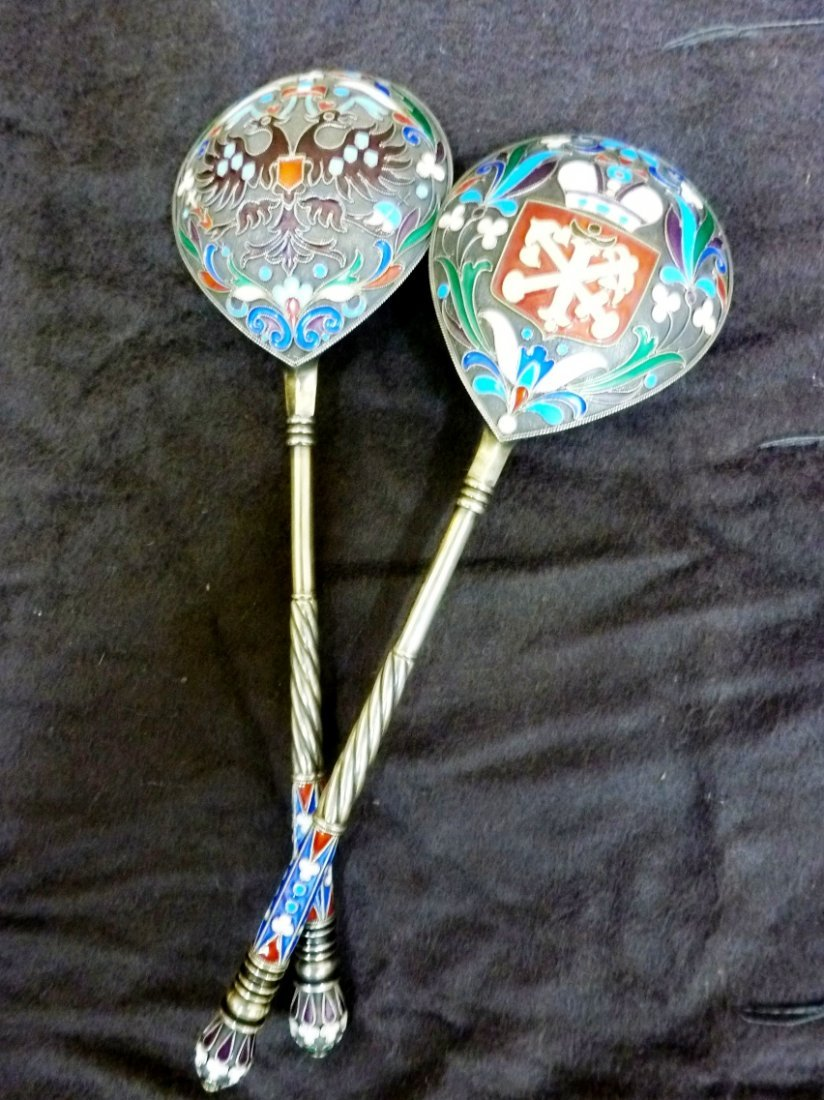 IMPERIAL RUSSIAN ENAMELED SPOONS PAVEL OVCHINNKOV