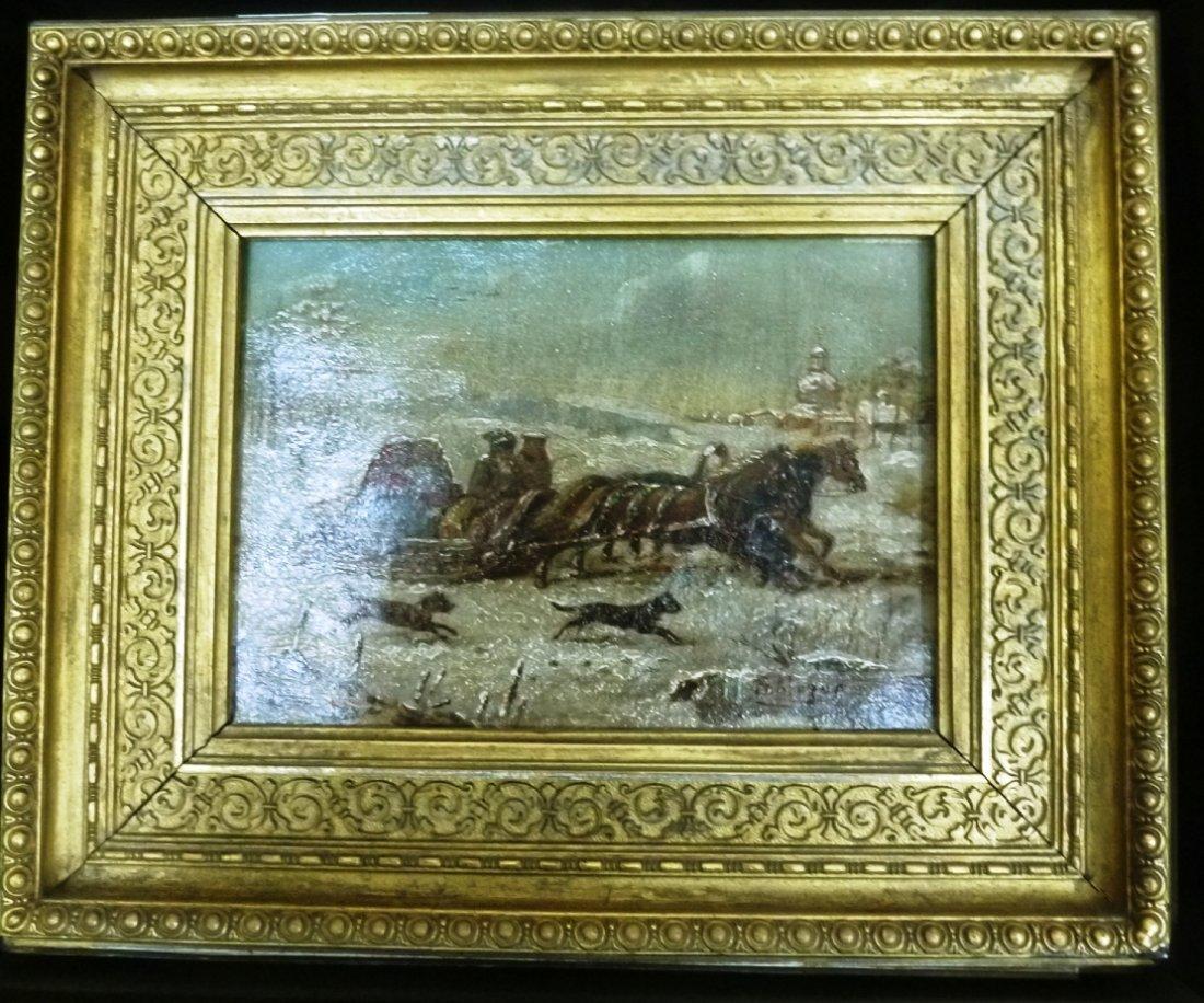 19TH CENTURY RUSSIAN OIL PAINTING SNOW SCENE