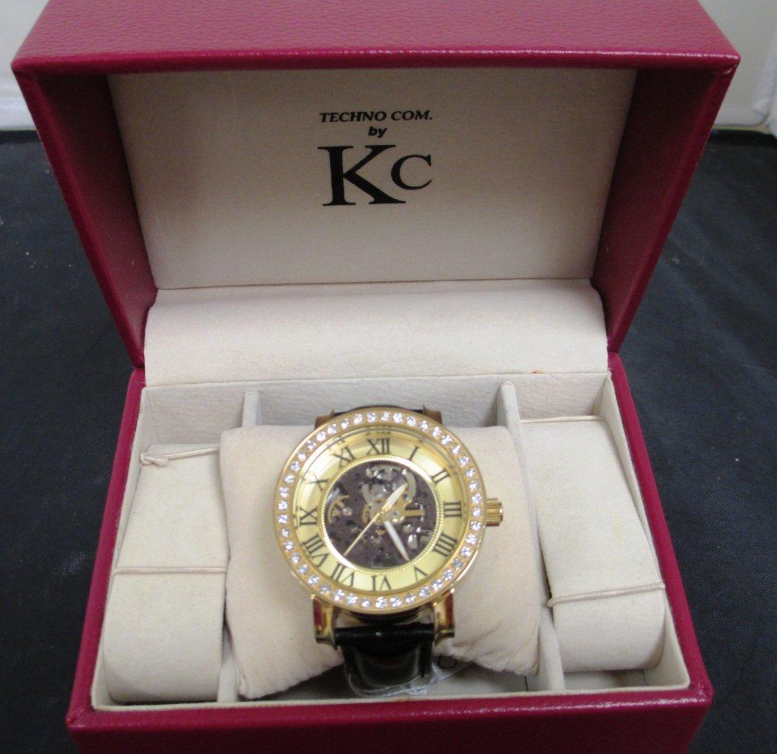 MEN'S KC TECHNO DIAMOND BEZEL SKELETON WATCH