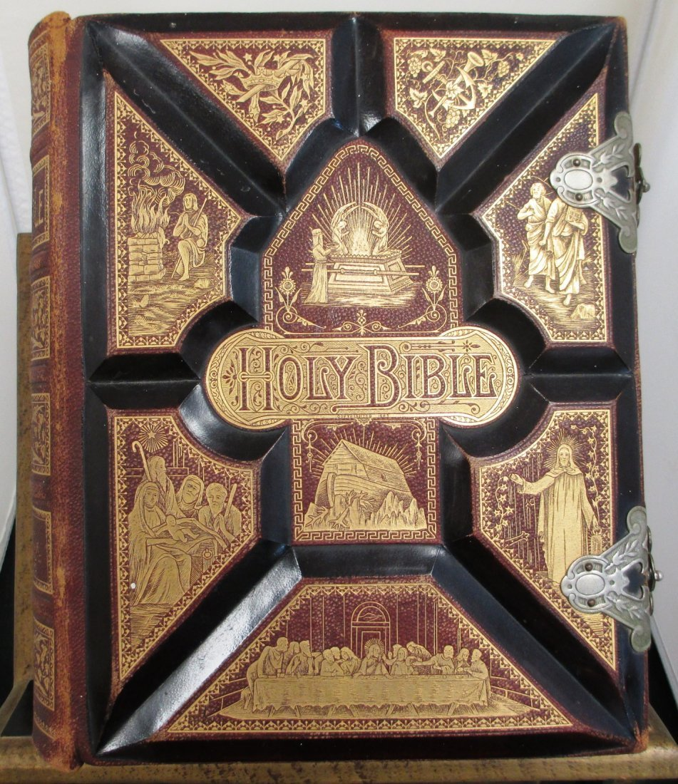 """ANTIQUE 1886 KING JAMES  PICTORIAL """"HOLY BIBLE"""""""