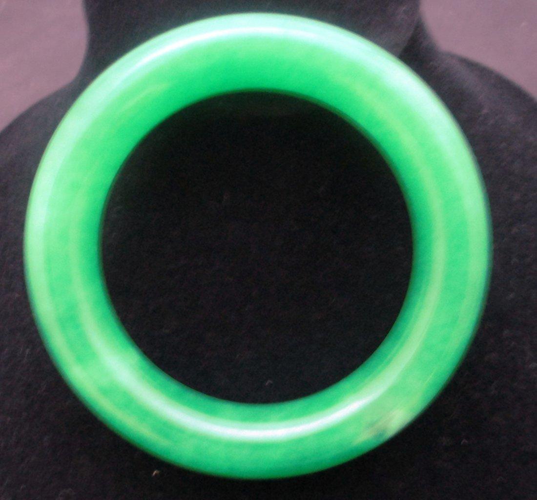 SOLID GREEN JADEITE JADE BANGLE BRACELET