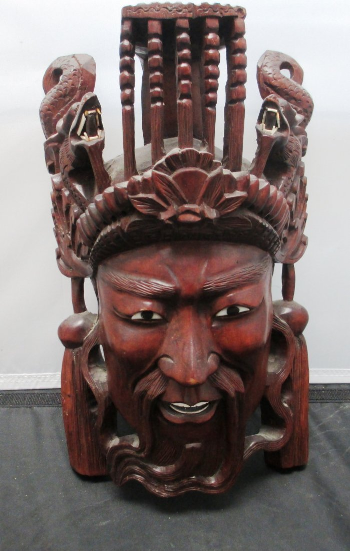 ANTIQUE 19C CHINESE ROSEWOOD HAND CARVED MASK ANTIQUE