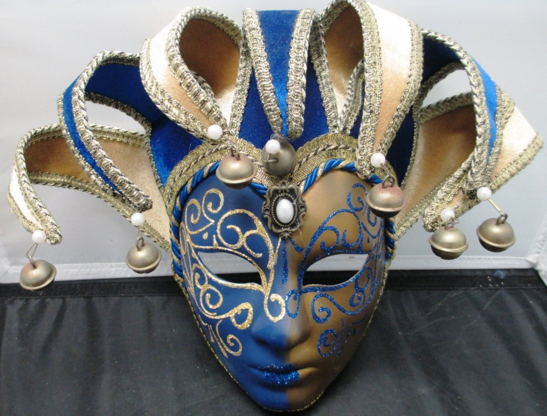 VENETIAN HAND PAINTED MASQUERADE MEN'S MASK 19in Tall x