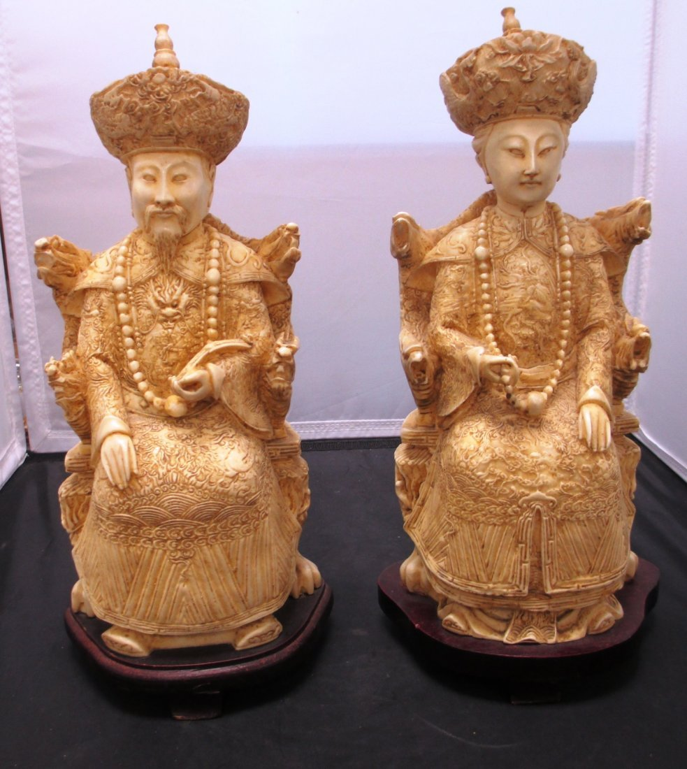 CHINESE RESIN EMPEROR AND EMPRESS Pair of Resin ( Faux