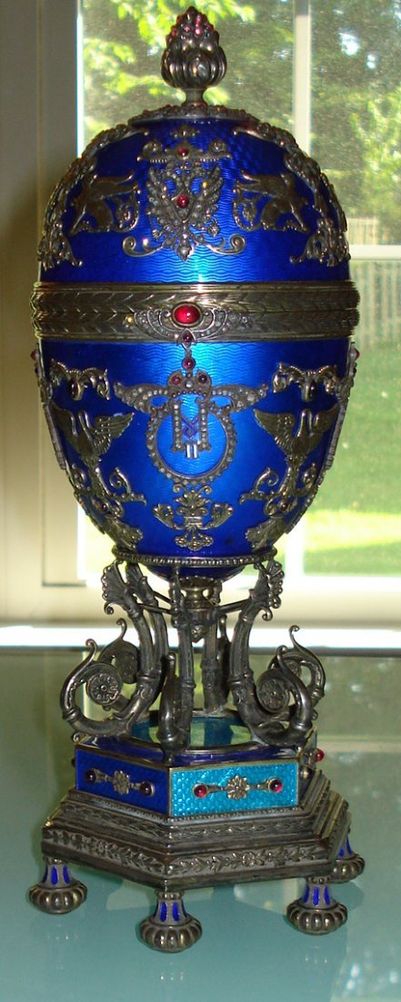 HUGE RUSSIAN SILVER ENAMEL EGG WITH DIAMONDS