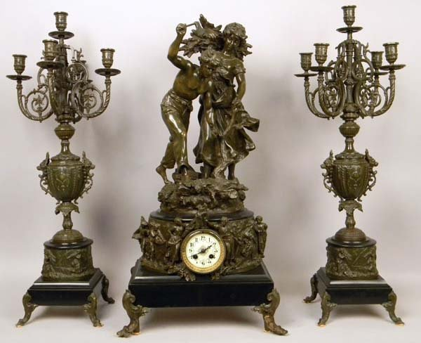 FRENCH 19TH CENTURY ANTIQUE 3 PIECE CLOCK SET