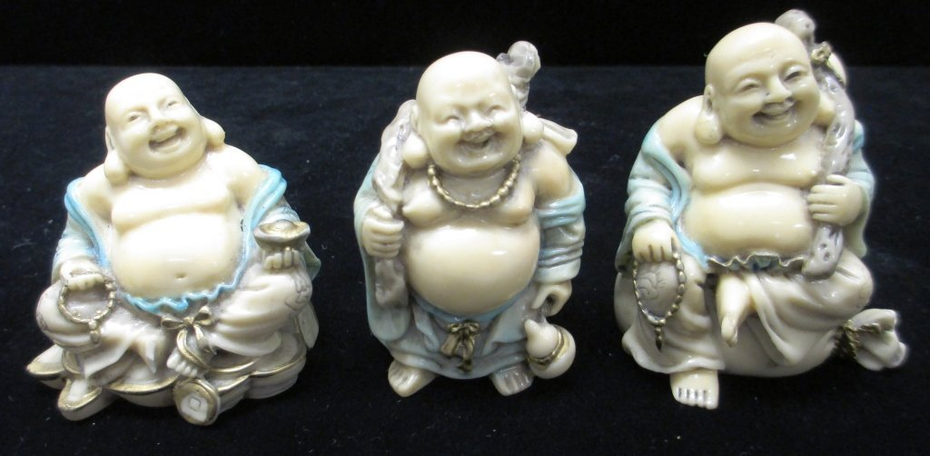 GROUP OF 3 BUDDHA BONE CARVINGS