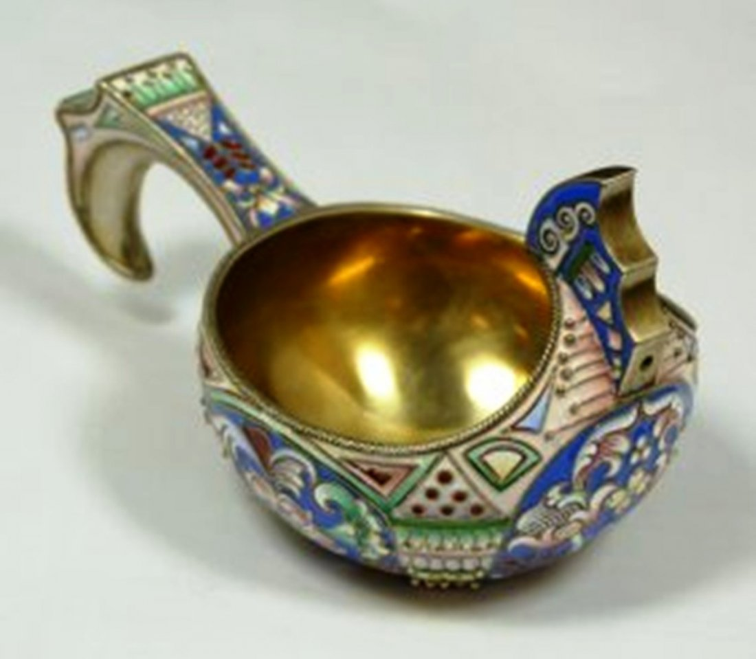 RUSSIAN SILVER AND ENAMEL KOVSH RUCKERT