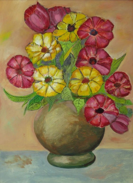 "OIL ON CANVAS BY B.D. LINVILL "" BOUQUET"""