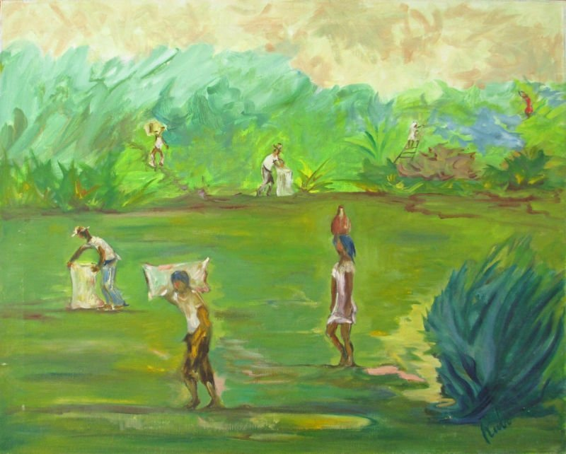 OIL ON CANVAS BY RUBI VILLAGERS FARMING