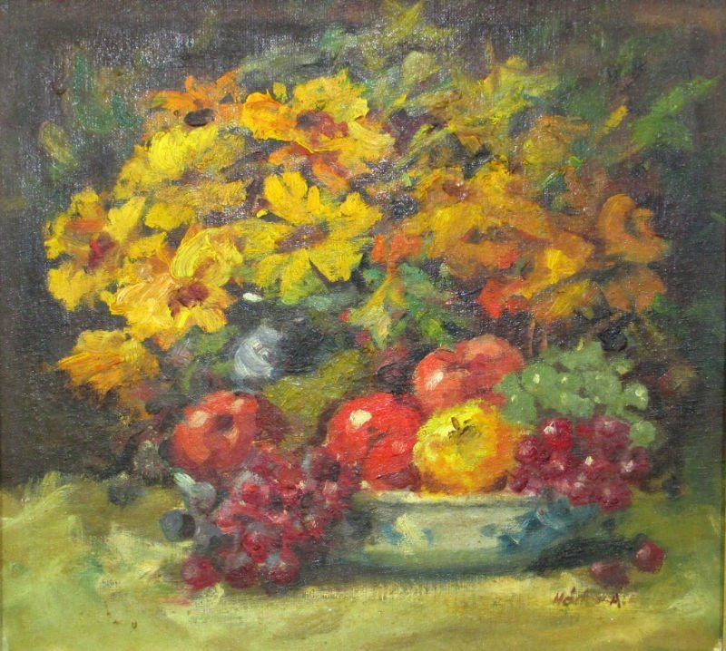 OIL 0N BOARD BOWL OF FRUIT AND FLOWERS