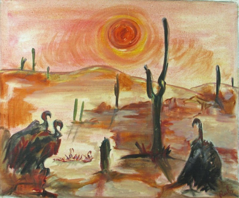 OIL ON CANVAS SIGNED RUBI DESERT SCENE